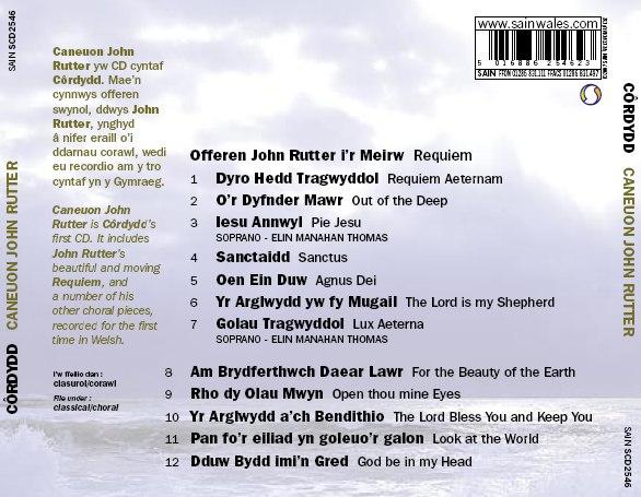 Cynnwys CD Caneuon John Rutter